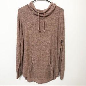Heather Pink Cowl Neck Hoodie Sweater